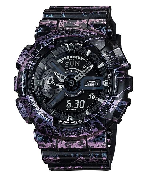 Часы мужские наручные Casio G-SHOCK, цвет: хамелеон, черный. GA-110PM-1AGA-110PM-1A