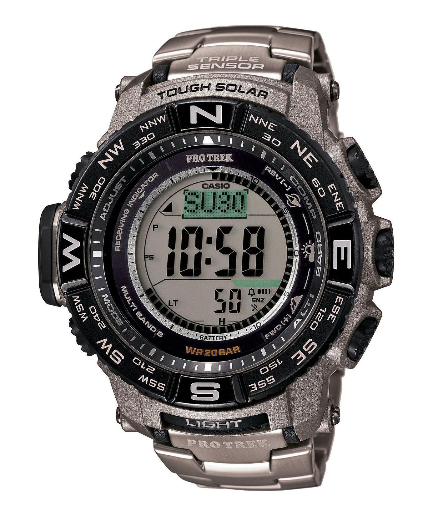Часы мужские наручные Casio PRO TREK, цвет: титановый, черный. PRW-3500T-7EPRW-3500T-7EСтильные мужские часы Casio PRO TREK выполнены из нержавеющей стали, полимерных материалов и минерального стекла. Изделие дополнено подсветкой высокой яркости, корпус часов оформлен символикой бренда. В часах предусмотрен цифровой отсчет времени. Часы оснащены функцией мирового времени, которая позволяет мгновенно выяснять текущее время. Часы могут быть настроены на подачу тонального или светового сигнала при наступлении выставленного времени. Функция таймера позволит обеспечить обратный отсчет времени, начиная с выставленного и подачу тонального или светового сигнала, когда отсчет доходит до нуля. Функция секундомера позволит замерять прошедшее время в пределах тысячи часов с точностью 1/100 секунды, предусмотрен будильник, термометр, цифровой компас, альтиметр, барометр. Степень влагозащиты 20 atm. Изделие дополнено браслетом из стали. Браслет застегивается на замок-клипсу, который позволит максимально комфортно и быстро снимать и одевать часы. Часы поставляются в...