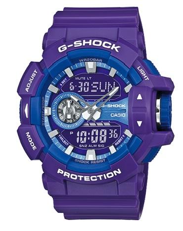 Часы мужские наручные Casio G-SHOCK, цвет: фиолетовый, синий. GA-400A-6AGA-400A-6AСтильные мужские часы Casio G-SHOCK выполнены из полимерных материалов и минерального стекла. Изделие дополнено светодиодной подсветкой высокой яркости, корпус часов оформлен символикой бренда. В часах предусмотрен аналоговый и цифровой отсчет времени. Часы оснащены функцией мирового времени, которая позволяет мгновенно выяснять текущее время. Часы могут быть настроены на подачу тонального или светового сигнала при наступлении выставленного времени. Функция таймера позволит обеспечить обратный отсчет времени, начиная с выставленного и подачу тонального или светового сигнала, когда отсчет доходит до нуля. Функция секундомера позволит замерять прошедшее время в пределах тысячи часов с точностью 1/100 секунды. Степень влагозащиты 20 atm. Изделие дополнено ремешком из полимерного материала, который обладает антибактериальными и запахоустойчивыми свойствами. Ремешок застегивается на пряжку, позволяющую максимально комфортно и быстро снимать и одевать часы. Часы поставляются в...