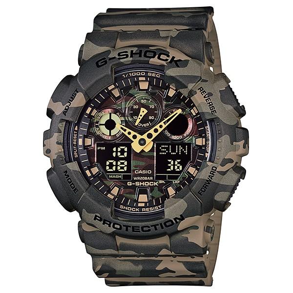 Часы мужские наручные Casio G-SHOCK, цвет: хаки, камуфляж. GA-100CM-5AGA-100CM-5AСтильные мужские часы Casio G-SHOCK выполнены из полимерных материалов и минерального стекла. Изделие дополнено светодиодной подсветкой высокой яркости, корпус часов оформлен символикой бренда и оригинальным принтом камуфляж. В часах предусмотрен цифровой отсчет времени. Часы оснащены функцией мирового времени, которая позволяет мгновенно выяснять текущее время. Часы могут быть настроены на подачу тонального или светового сигнала при наступлении выставленного времени. Функция таймера позволит обеспечить обратный отсчет времени, начиная с выставленного и подачу тонального или светового сигнала, когда отсчет доходит до нуля. Функция секундомера позволит замерять прошедшее время в пределах тысячи часов с точностью 1/100 секунды, предусмотрен будильник. Степень влагозащиты 20 atm. Изделие дополнено ремешком из полимерного материала, который обладает антибактериальными и запахоустойчивыми свойствами. Ремешок застегивается на пряжку, позволяющую максимально комфортно и быстро...