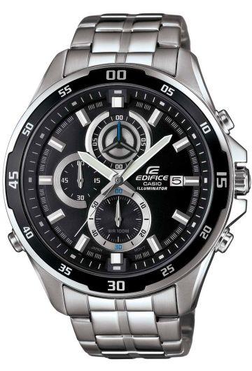 Часы мужские наручные CASIO EDIFICE, цвет: стальной, черный. EFR-547D-1AEFR-547D-1AСтильные мужские часы CASIO EDIFICE выполнены из нержавеющей стали, минерального стекла. Циферблат изделия дополнен сверхяркой подсветкой, при нажатии на кнопку подсветки экран ярко освещается в ультрамодный цвет, символикой бренда. Часы оснащены полированным ударостойким корпусом, устойчивым к царапинам минеральным стеклом, секундомером, а также степенью влагозащиты 10 atm и тремя дополнительными циферблатами, индикатором даты. Изделие дополнено браслетом из нержавеющей стали, позволяющим максимально комфортно и быстро снимать и одевать часы при помощи застежки-клипсы. Часы поставляются в фирменной упаковке. Часы CASIO EDIFICE подчеркнут мужской характер и отменное чувство стиля у их обладателя.