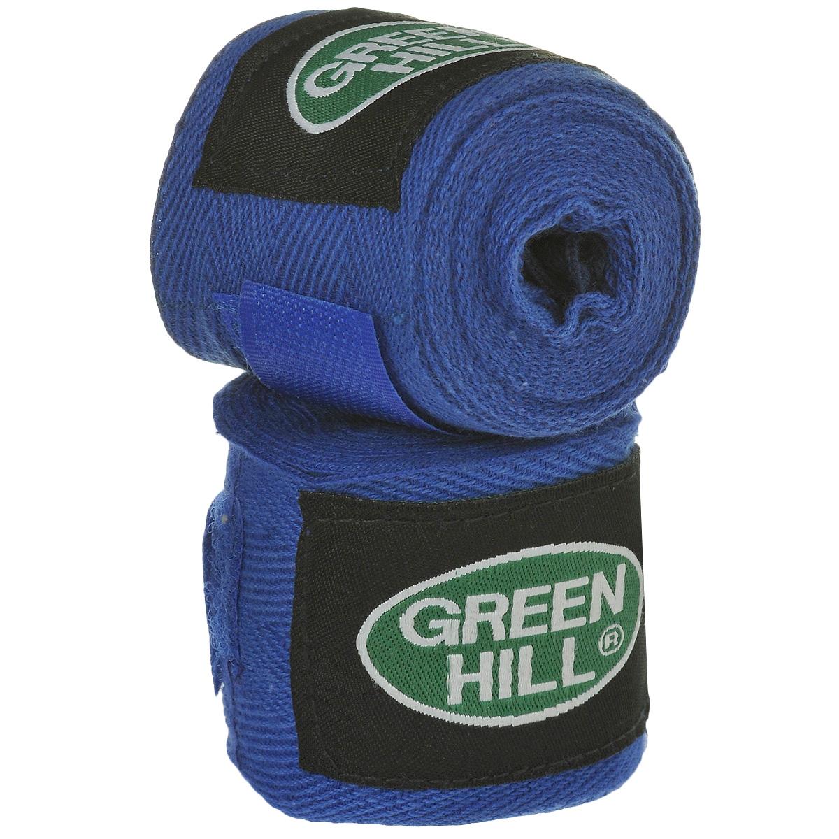 "Green Hill Бинты боксерские ""Green Hill"", хлопок, цвет: синий, 2,5 м, 2 шт"