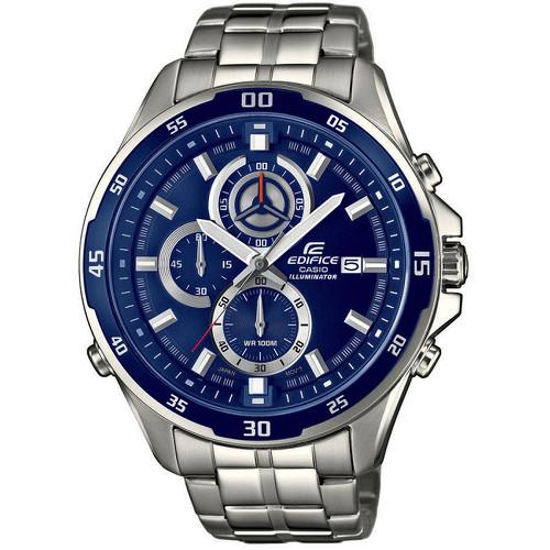 Часы мужские наручные CASIO EDIFICE, цвет: стальной, синий. EFR-547D-2AEFR-547D-2AСтильные мужские часы CASIO EDIFICE выполнены из нержавеющей стали, минерального стекла. Циферблат изделия дополнен сверхяркой подсветкой, при нажатии на кнопку подсветки экран ярко освещается в ультрамодный цвет, символикой бренда. Часы оснащены полированным ударостойким корпусом, устойчивым к царапинам минеральным стеклом, секундомером, а также степенью влагозащиты 10 atm и тремя дополнительными циферблатами, индикатором даты. Изделие дополнено браслетом из нержавеющей стали, позволяющим максимально комфортно и быстро снимать и одевать часы при помощи застежки-клипсы. Часы поставляются в фирменной упаковке. Часы CASIO EDIFICE подчеркнут мужской характер и отменное чувство стиля у их обладателя.