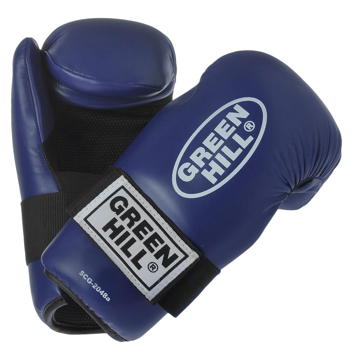 Перчатки для контактных единоборств Green Hill 7-contact, цвет: синий. Размер SSCG-2048cНакладки Green Hill 7-contact для контактных видов единоборств семиконтакт. Идеально подходят для обучения, спаррингов и соревнований. Перчатки выполнены из высококачественной. Широкий ремень, охватывая запястье, полностью оборачивается вокруг манжеты, благодаря чему создается дополнительная защита лучезапястного сустава от травм. Застежка на липучке способствует быстрому и удобному одеванию перчаток, плотно фиксирует перчатки на руке.