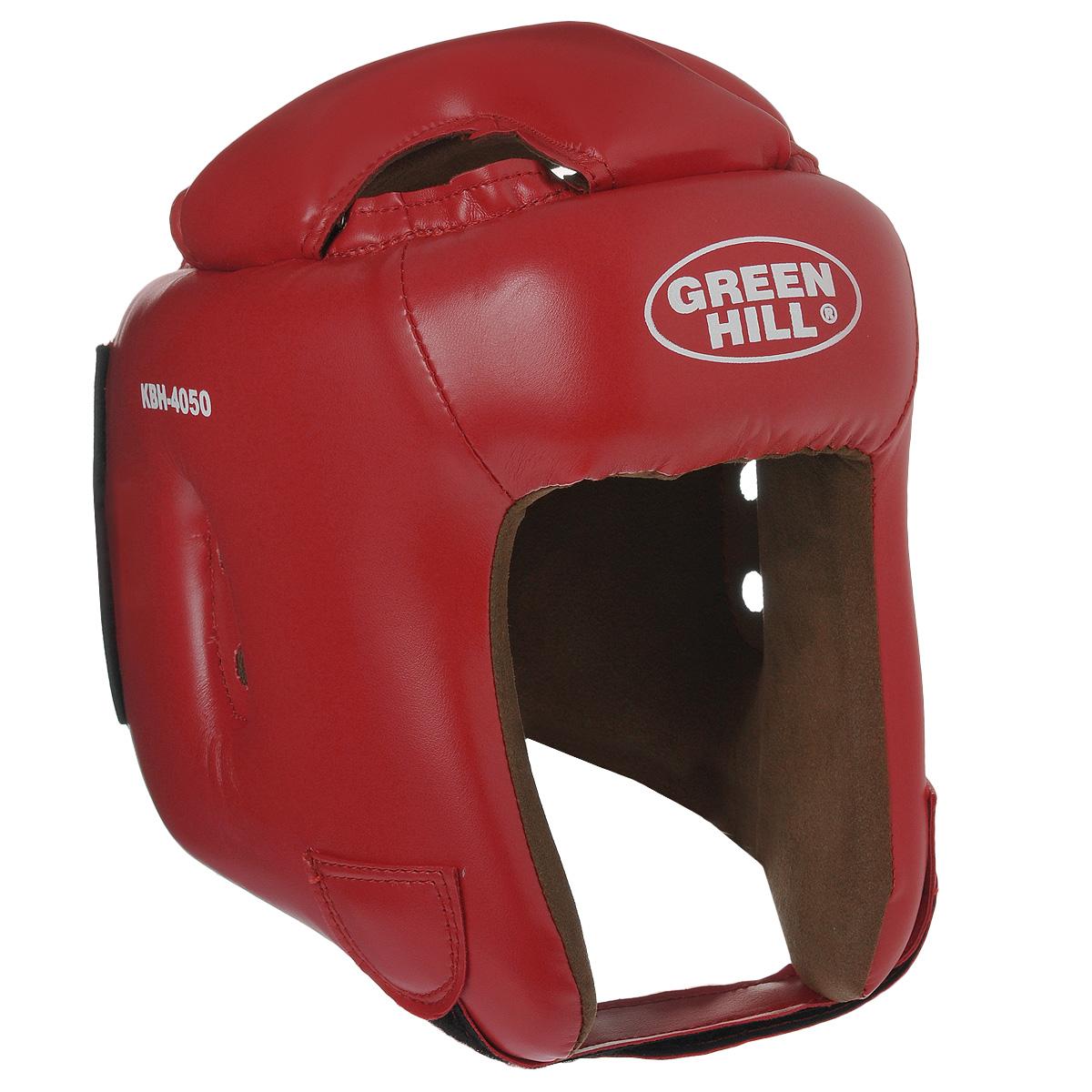Шлем боксерский Green Hill Brave, цвет красный. Размер M (54-56 см)KBH-4050Шлем Green Hill Brave с усиленной защитой теменной области предназначен для занятий боксом и кикбоксингом. Подходит для тренировок и соревнований. Крепление сзади на резинке и под подбородком на липучке крепко удерживают шлем на голове. Верх выполнен из высококачественного кожзаменителя, подкладка из искусственной замши.