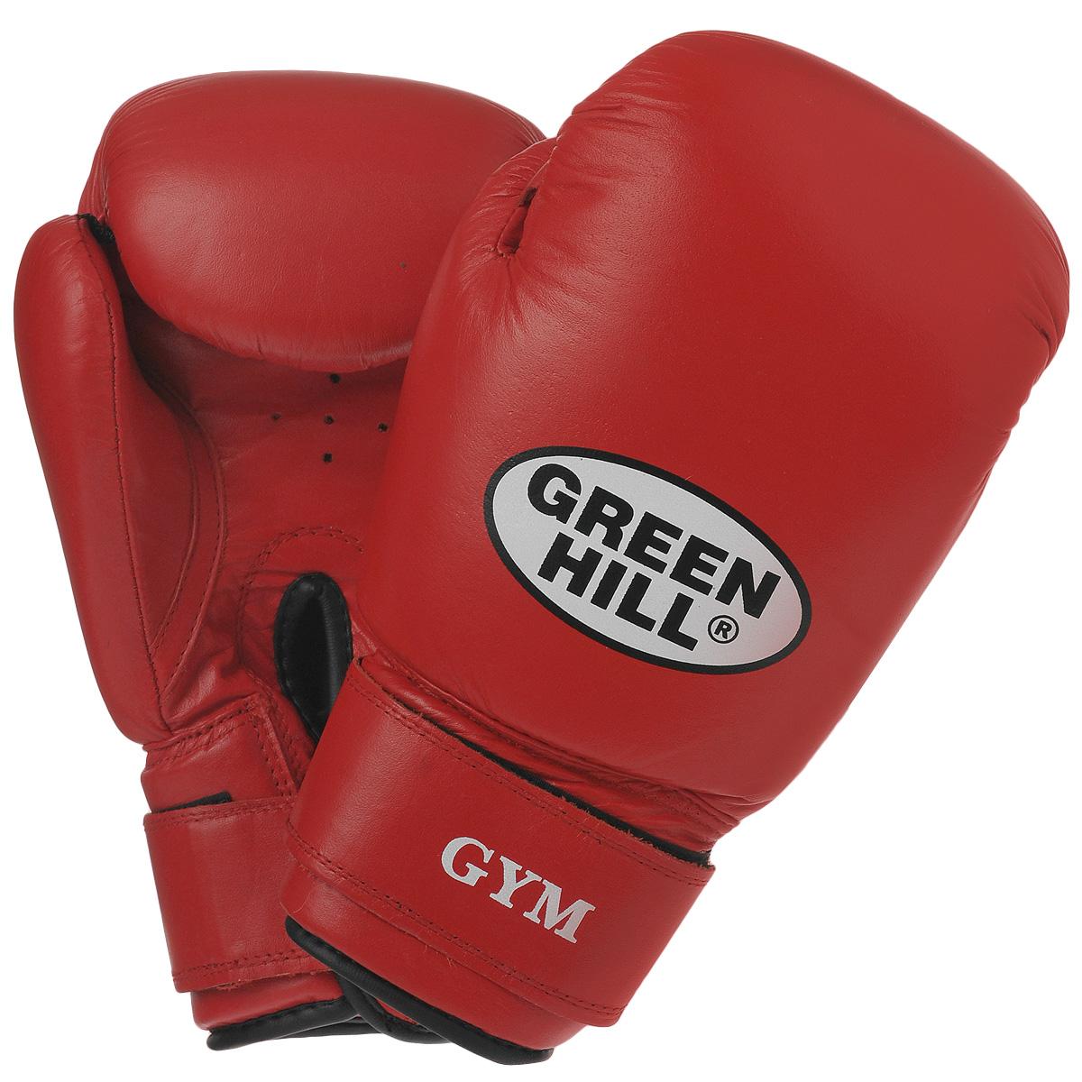 """Перчатки боксерские Green Hill """"Gym"""", цвет: красный. Вес 12 унций BGG-2018"""