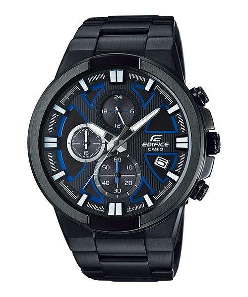 Часы мужские наручные CASIO EDIFICE, цвет: черный, синий. EFR-544BK-1A2EFR-544BK-1A2Стильные мужские часы CASIO EDIFICE выполнены из нержавеющей стали, минерального стекла. Циферблат изделия дополнен светящимся составом на стрелках и символикой бренда. Часы оснащены полированным ударостойким корпусом, устойчивым к царапинам минеральным стеклом, секундомером, а также степенью влагозащиты 10 atm и тремя дополнительными циферблатами, индикатором даты. Изделие дополнено браслетом из нержавеющей стали, позволяющим максимально комфортно и быстро снимать и одевать часы при помощи застежки-клипсы. Часы поставляются в фирменной упаковке. Часы CASIO EDIFICE подчеркнут мужской характер и отменное чувство стиля у их обладателя.