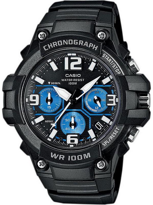 Часы мужские наручные Casio, цвет: черный, синий. MCW-100H-1A2MCW-100H-1A2Стильные мужские часы Casio выполнены из полимерных материалов и минерального стекла. Изделие оформлено символикой бренда. В часах предусмотрен аналоговый отсчет времени. Часы оснащены кварцевым механизмом с тремя стрелками, полированным корпусом, устойчивым к царапинам минеральным стеклом, степенью влагозащиты 5atm, тремя дополнительными циферблатами с индикаторами. Функция секундомера позволит замерять прошедшее время в пределах тысячи часов с точностью 1/100 секунды. Изделие дополнено ремешком из полимерного материала, который обладает антибактериальными и запахоустойчивыми свойствами. Ремешок застегивается на пряжку, позволяющую максимально комфортно и быстро снимать и одевать часы. Часы поставляются в фирменной упаковке. Многофункциональные часы Casio подчеркнут мужской характер и отменное чувство стиля у их обладателя.