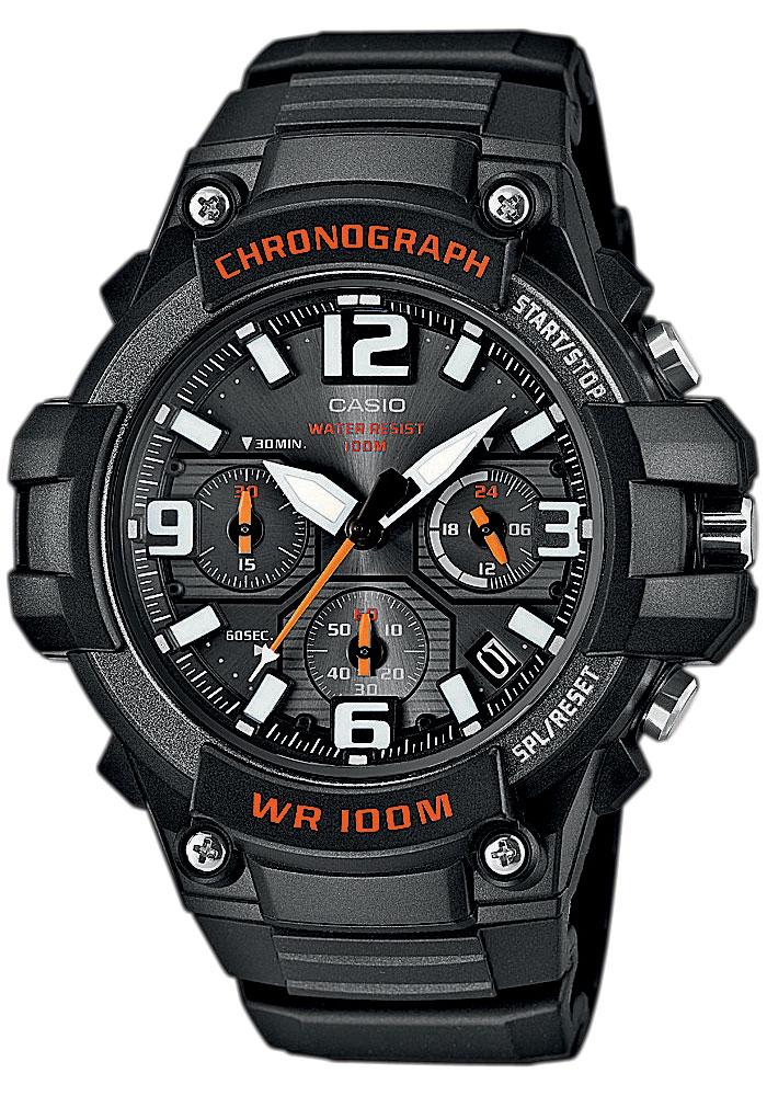 Часы мужские наручные Casio, цвет: черный, оранжевый. MCW-100H-1AMCW-100H-1AСтильные мужские часы Casio выполнены из полимерных материалов и минерального стекла. Изделие оформлено символикой бренда. В часах предусмотрен аналоговый отсчет времени. Часы оснащены кварцевым механизмом с тремя стрелками, полированным корпусом, устойчивым к царапинам минеральным стеклом, степенью влагозащиты 5atm, тремя дополнительными циферблатами с индикаторами. Функция секундомера позволит замерять прошедшее время в пределах тысячи часов с точностью 1/100 секунды. Изделие дополнено ремешком из полимерного материала, который обладает антибактериальными и запахоустойчивыми свойствами. Ремешок застегивается на пряжку, позволяющую максимально комфортно и быстро снимать и одевать часы. Часы поставляются в фирменной упаковке. Многофункциональные часы Casio подчеркнут мужской характер и отменное чувство стиля у их обладателя.
