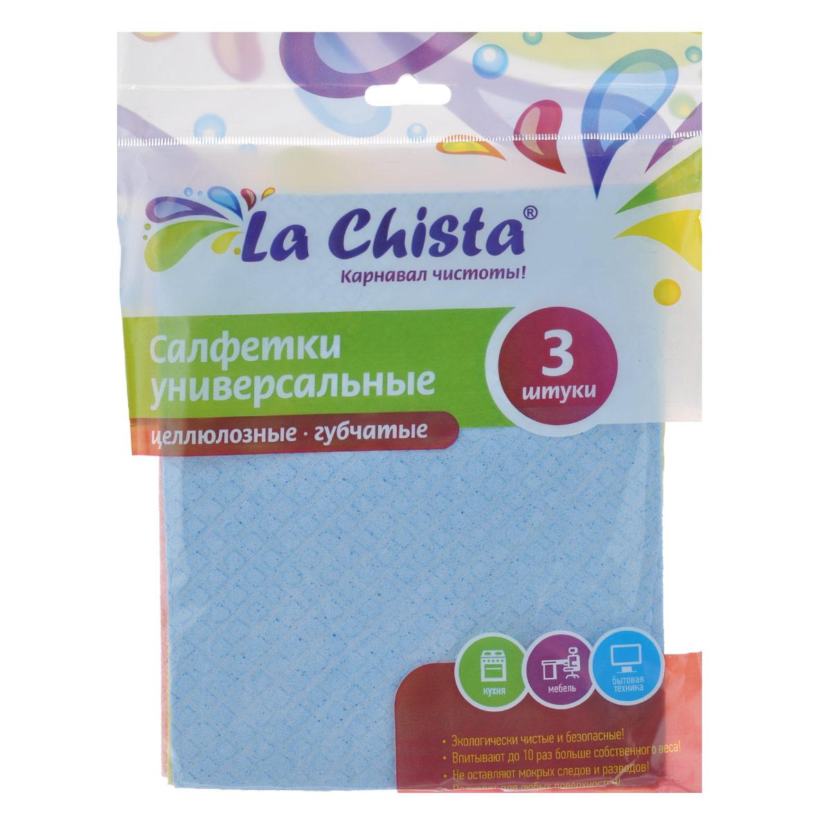 Салфетки универсальные La Chista, губчатые, 15 см х 15 см, 3 шт870131Универсальные губчатые салфетки La Chista, изготовленные из целлюлозы, прекрасно подойдут для влажной уборки. Такие салфетки впитывают до 10 раз больше собственного веса. Подходят для любых поверхностей и не оставляют ворсинок и разводов. Экологически безопасные. Комплектация: 3 шт.