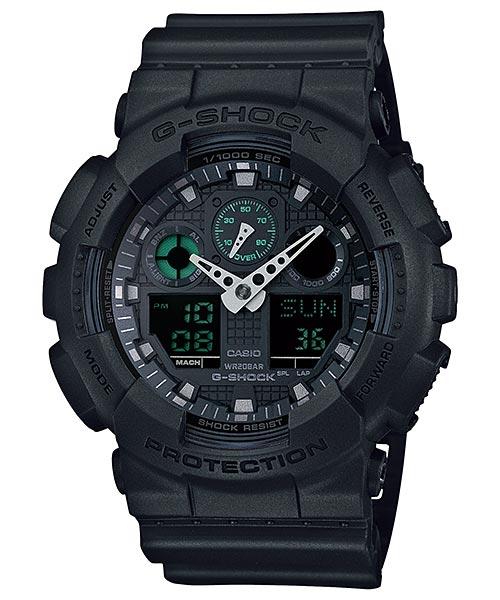 Часы мужские наручные Casio G-SHOCK, цвет: черный, серый. GA-100MB-1AGA-100MB-1AСтильные мужские часы Casio G-SHOCK выполнены из полимерных материалов и минерального стекла. Изделие дополнено светодиодной подсветкой высокой яркости, корпус часов оформлен символикой бренда. В часах предусмотрен аналоговый и цифровой отсчет времени. Часы оснащены функцией мирового времени, которая позволяет мгновенно выяснять текущее время. Часы могут быть настроены на подачу тонального или светового сигнала при наступлении выставленного времени. Функция таймера позволит обеспечить обратный отсчет времени, начиная с выставленного и подачу тонального или светового сигнала, когда отсчет доходит до нуля. Функция секундомера позволит замерять прошедшее время в пределах тысячи часов с точностью 1/100 секунды, предусмотрен будильник и функция мирового времени. Степень влагозащиты 20 atm. Изделие дополнено ремешком из полимерного материала, который обладает антибактериальными и запахоустойчивыми свойствами. Ремешок застегивается на пряжку, позволяющую максимально комфортно и...