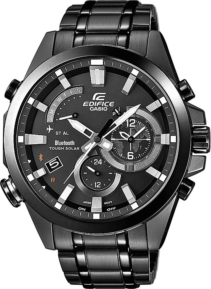 Часы мужские наручные Casio, цвет: черный. EQB-510DC-1AEQB-510DC-1AСтильные мужские часы Casio EDIFICE выполнены из нержавеющей стали и минерального стекла. Изделие оформлено символикой бренда. В часах предусмотрен аналоговый отсчет времени. Часы оснащены Bluetooth и функцией Mobile Link, которая позволяет синхронизировать часы с смартфоном для автоматической корректировки времени. Функция мирового времени позволяет мгновенно выяснять текущее время в любой точке земного шара. Часы могут быть настроены на подачу тонального или светового сигнала при наступлении выставленного времени. Функция таймера позволит обеспечить обратный отсчет времени, начиная с выставленного и подачу тонального или светового сигнала, когда отсчет доходит до нуля. Функция секундомера позволит замерять прошедшее время в пределах тысячи часов с точностью 1/100 секунды, предусмотрен будильник. Дополнительные функции: барометр, цифровой компас, альтиметр, термометр, будильник. Степень влагозащиты 20 atm. Изделие дополнено стальным браслетом, который застегивается...