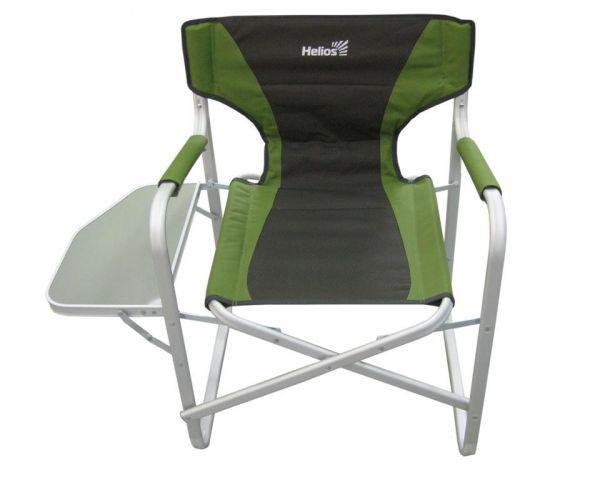 Кресло складное Helios, с откидным столиком, цвет: серый, зеленый, 47 см х 42 см х 80 смHS-065LУдобное и надежное складное кресло Helios с жесткой конструкцией гарантирует комфортный отдых на природе. Выполнено из прочного полиэстера. Каркас из алюминиевого профиля с матовой обработкой. Кресло оснащено откидным столиком. Удобство обеспечивают смягченное пенкой сиденье, спинка и подлокотники.