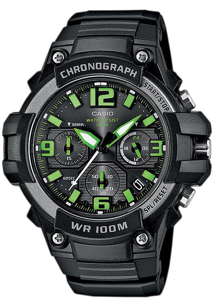Часы мужские наручные Casio, цвет: черный, зеленый. MCW-100H-3AMCW-100H-3A