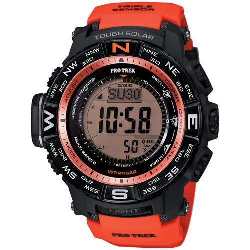 Часы мужские наручные Casio PRO TREK, цвет: черный, красный. PRW-3500Y-4EPRW-3500Y-4EСтильные мужские часы Casio PRO TREK выполнены из полимерных материалов и минерального стекла. Изделие дополнено подсветкой высокой яркости, корпус часов оформлен символикой бренда. В часах предусмотрен цифровой отсчет времени. Часы оснащены функцией мирового времени, которая позволяет мгновенно выяснять текущее время. Часы могут быть настроены на подачу тонального или светового сигнала при наступлении выставленного времени. Функция таймера позволит обеспечить обратный отсчет времени, начиная с выставленного и подачу тонального или светового сигнала, когда отсчет доходит до нуля. Функция секундомера позволит замерять прошедшее время в пределах тысячи часов с точностью 1/100 секунды, предусмотрен будильник, термометр, цифровой компас, альтиметр, барометр. Степень влагозащиты 20 atm. Изделие дополнено ремешком из полимерного материала, который обладает антибактериальными и запахоустойчивыми свойствами. Ремешок застегивается на пряжку, позволяющую максимально комфортно и быстро...