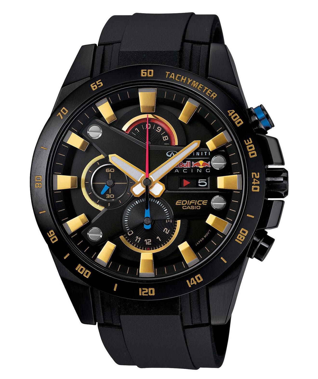 Часы мужские наручные Casio, цвет: черный, золотистый. EFR-540RBP-1AEFR-540RBP-1AСтильные мужские часы Casio EDIFICE выполнены из нержавеющей стали и минерального стекла. Изделие оформлено символикой бренда. В часах предусмотрен аналоговый отсчет времени. Функция мирового времени позволяет мгновенно выяснять текущее время в любой точке земного шара. Функция секундомера позволит замерять прошедшее время в пределах тысячи часов с точностью 1/100 секунды, предусмотрен будильник. Степень влагозащиты 10 atm. Изделие дополнено ремешком из полимерного материала, который обладает антибактериальными и запахоустойчивыми свойствами. Ремешок застегивается на пряжку, позволяющую максимально комфортно и быстро снимать и одевать часы. Часы поставляются в фирменной упаковке. Многофункциональные часы Casio EDIFICE подчеркнут мужской характер и отменное чувство стиля у их обладателя.