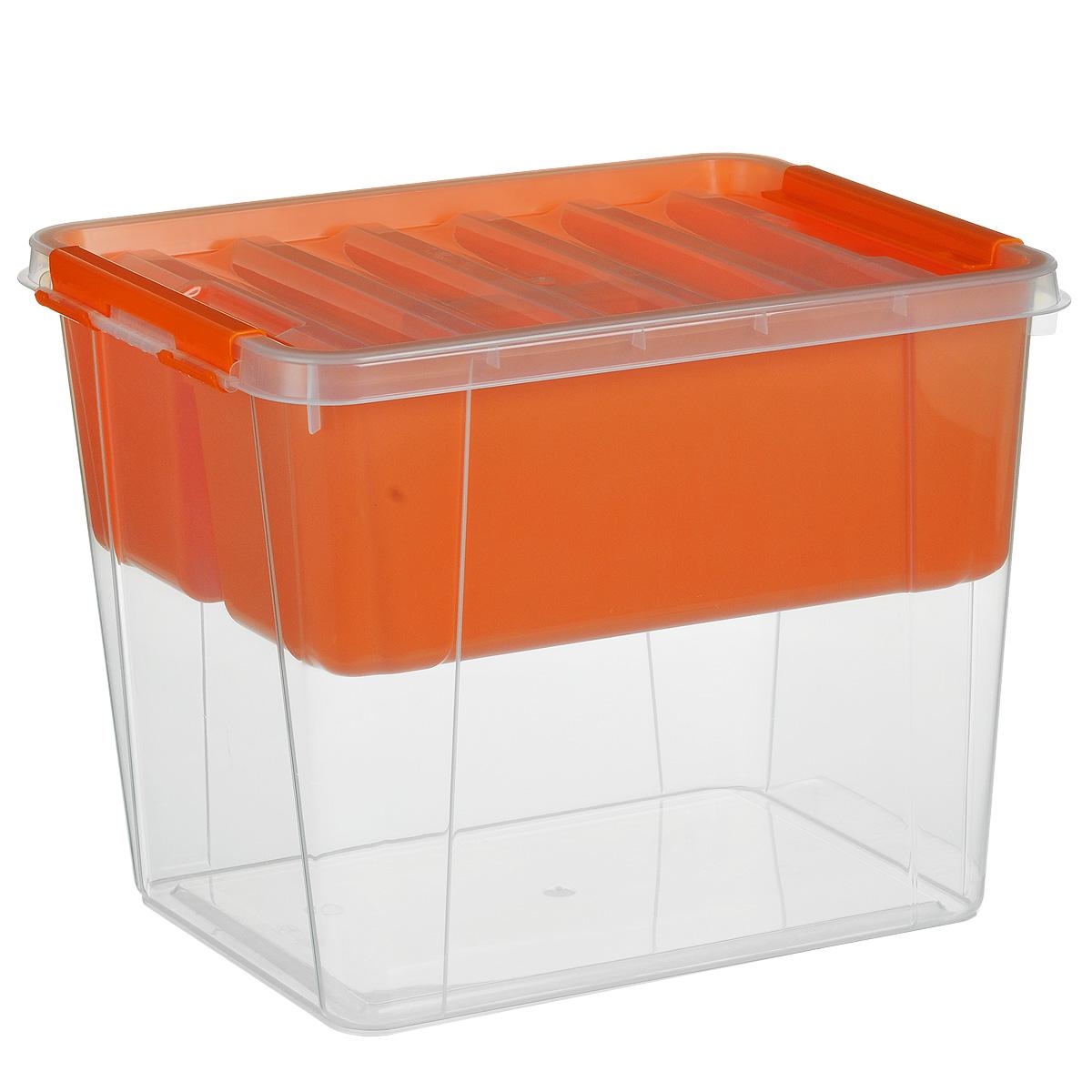 Ящик Полимербыт Профи, с вкладышем, цвет: оранжевый, прозрачный, 25 лС50901Вместительный ящик Полимербыт Профи выполнен из прозрачного пластика и предназначен для хранения различных предметов. Ящик оснащен удобной крышкой с рельефной поверхностью. Внутри ящика имеется съемный вкладыш с двумя глубокими секциями. Контейнер снабжен двумя пластиковыми фиксаторами по бокам, придающими дополнительную надежность закрывания крышки. Вместительный контейнер позволит сохранить различные нужные вещи в порядке, а герметичная крышка предотвратит случайное открывание, защитит содержимое от пыли и грязи. Размер внутренних секций: 37 см х 13 см х 14 см. Объем: 25 л.