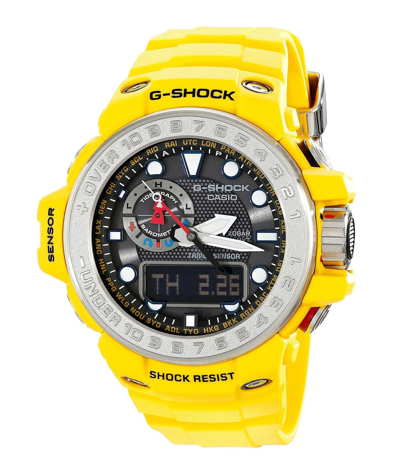 Часы мужские наручные Casio G-SHOCK, цвет: желтый, серебристый. GWN-1000-9AGWN-1000-9AСтильные мужские часы Casio G-SHOCK выполнены из полимерных материалов и минерального стекла. Изделие дополнено электролюминесцентной подсветкой высокой яркости, корпус часов оформлен символикой бренда. В часах предусмотрен аналоговый и цифровой отсчет времени. Часы оснащены функцией мирового времени, которая позволяет мгновенно выяснять текущее время. Часы могут быть настроены на подачу тонального или светового сигнала при наступлении выставленного времени. Функция таймера позволит обеспечить обратный отсчет времени, начиная с выставленного и подачу тонального или светового сигнала, когда отсчет доходит до нуля. Функция секундомера позволит замерять прошедшее время в пределах тысячи часов с точностью 1/100 секунды, предусмотрен будильник. Дополнительные функции: барометр, цифровой компас, альтиметр, термометр, будильник. Степень влагозащиты 20 atm. Изделие дополнено ремешком из полимерного материала, который обладает антибактериальными и запахоустойчивыми свойствами. Ремешок...