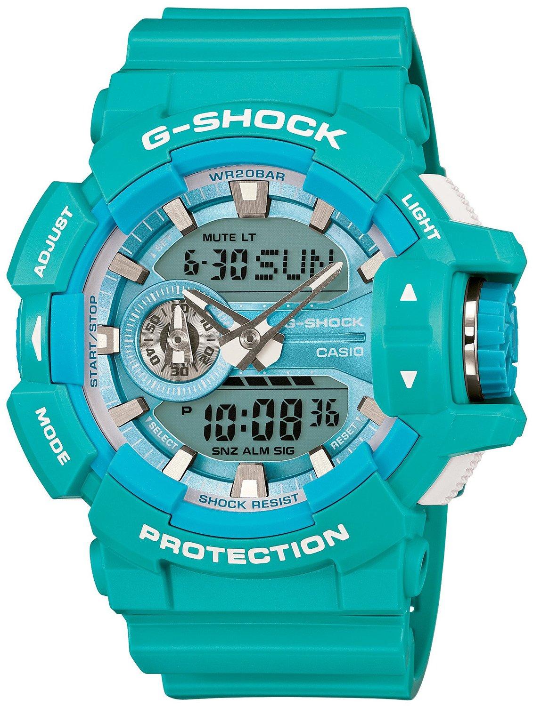 Часы мужские наручные Casio G-SHOCK, цвет: бирюзовый, голубой. GA-400A-2AGA-400A-2A