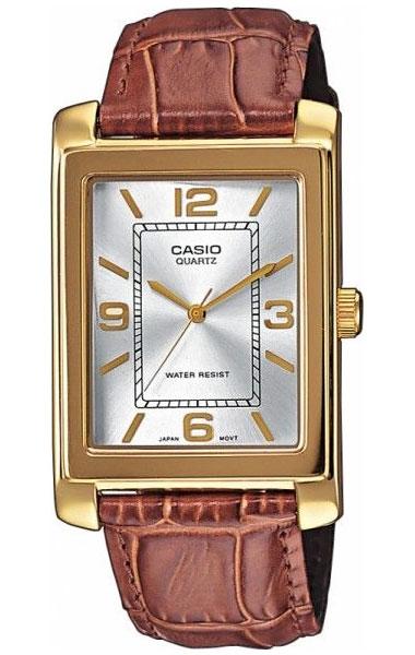 Часы женские наручные Casio, цвет: золотистый, коричневый, белый. MTP-1234PGL-7AMTP-1234PGL-7AСтильные женские часы Casio выполнены из нержавеющей стали, натуральной кожи, минерального стекла. Циферблат изделия дополнен символикой бренда. Часы оснащены полированным ударостойким корпусом, устойчивым к царапинам минеральным стеклом, а также степенью влагозащиты 5 atm. Изделие дополнено браслетом из натуральной кожи с тиснением под рептилию и застежкой с пряжкой, позволяющей максимально комфортно и быстро снимать и одевать часы. Часы поставляются в фирменной упаковке. Часы Casio подчеркнут отменное чувство стиля у их обладателя.