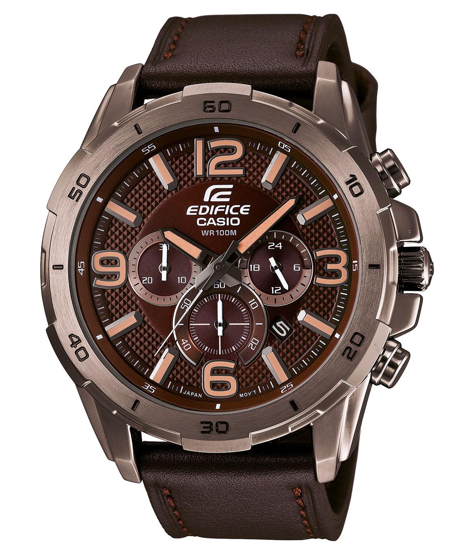 Часы мужские наручные CASIO EDIFICE, цвет: коричневый. EFR-538L-5AEFR-538L-5AСтильные мужские часы CASIO EDIFICE выполнены из нержавеющей стали, натуральной кожи и минерального стекла. Циферблат изделия дополнен светящимся составом на стрелках и символикой бренда. Часы оснащены полированным ударостойким корпусом, устойчивым к царапинам минеральным стеклом, секундомером, тремя дополнительными циферблатами, индикатором даты, а также степенью влагозащиты 10 atm. Изделие дополнено ремнем из натуральной кожи, позволяющим максимально комфортно и быстро снимать и одевать часы при помощи пряжки. Часы поставляются в фирменной упаковке. Часы CASIO EDIFICE подчеркнут мужской характер и отменное чувство стиля у их обладателя.