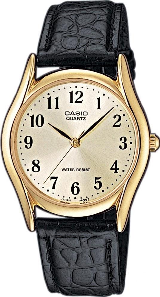Часы наручные мужские Casio, цвет: золотистый, белый, черный. MTP-1154PQ-7B2MTP-1154PQ-7B2Стильные мужские часы Casio выполнены из нержавеющей стали, минерального стекла и натуральной кожи. Циферблат изделия оформлен символикой бренда. Часы оснащены полированным ударостойким корпусом, устойчивым к царапинам минеральным стеклом, а также степенью влагозащиты 3 atm. Часы дополнены ремнем из натуральной кожи с тиснением под рептилию и пряжкой, которая позволит максимально комфортно и быстро снимать и одевать часы. Изделие поставляется в фирменной упаковке. Часы Casio подчеркнут мужской характер и отменное чувство стиля у их обладателя.