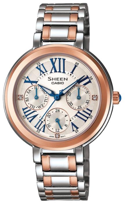 Часы женские наручные CASIO SHEEN, цвет: золотистый, стальной. SHE-3034SG-7ASHE-3034SG-7AЭлегантные женские часы CASIO SHEEN выполнены из нержавеющей стали, минерального стекла. Циферблат изделия дополнен светящимся составом на стрелках, символикой бренда и кристаллами Swarovski. Часы оснащены полированным ударостойким корпусом, устойчивым к царапинам минеральным стеклом, тремя дополнительными циферблатами с индикаторами даты и дня недели, а также степенью влагозащиты 5 atm. Изделие дополнено стальным браслетом, позволяющим максимально комфортно и быстро снимать и одевать часы при помощи замка-клипсы. Часы поставляются в фирменной упаковке. Часы CASIO SHEEN подчеркнут изящество женской руки и отменное чувство стиля их обладательницы.