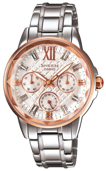 Часы женские наручные CASIO SHEEN, цвет: стальной, розовое золото. SHE-3029SG-7ASHE-3029SG-7AЭлегантные женские часы CASIO SHEEN выполнены из нержавеющей стали, минерального стекла. Циферблат изделия дополнен светящимся составом на стрелках, символикой бренда кристаллами Swarovski. Часы оснащены полированным ударостойким корпусом, устойчивым к царапинам минеральным стеклом, тремя дополнительными циферблатами с индикаторами даты и дня недели, а также степенью влагозащиты 5 atm. Изделие дополнено стальным браслетом, позволяющим максимально комфортно и быстро снимать и одевать часы при помощи замка-клипсы. Часы поставляются в фирменной упаковке. Часы CASIO SHEEN подчеркнут изящество женской руки и отменное чувство стиля их обладательницы.