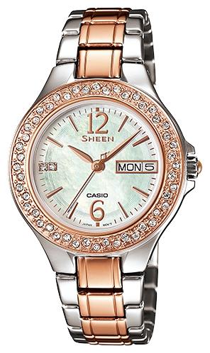Часы женские наручные CASIO SHEEN, цвет: розовое золото, стальной. SHE-4800SG-7ASHE-4800SG-7AЭлегантные женские часы CASIO SHEEN выполнены из нержавеющей стали, минерального стекла. Циферблат изделия дополнен символикой бренда и кристаллами Swarovski и перламутром. Часы оснащены полированным ударостойким корпусом, устойчивым к царапинам минеральным стеклом, индикатором даты, а также степенью влагозащиты 5 atm. Изделие дополнено стальным браслетом, позволяющим максимально комфортно и быстро снимать и одевать часы при помощи замка-клипсы. Часы поставляются в фирменной упаковке. Часы CASIO SHEEN подчеркнут изящество женской руки и отменное чувство стиля их обладательницы.