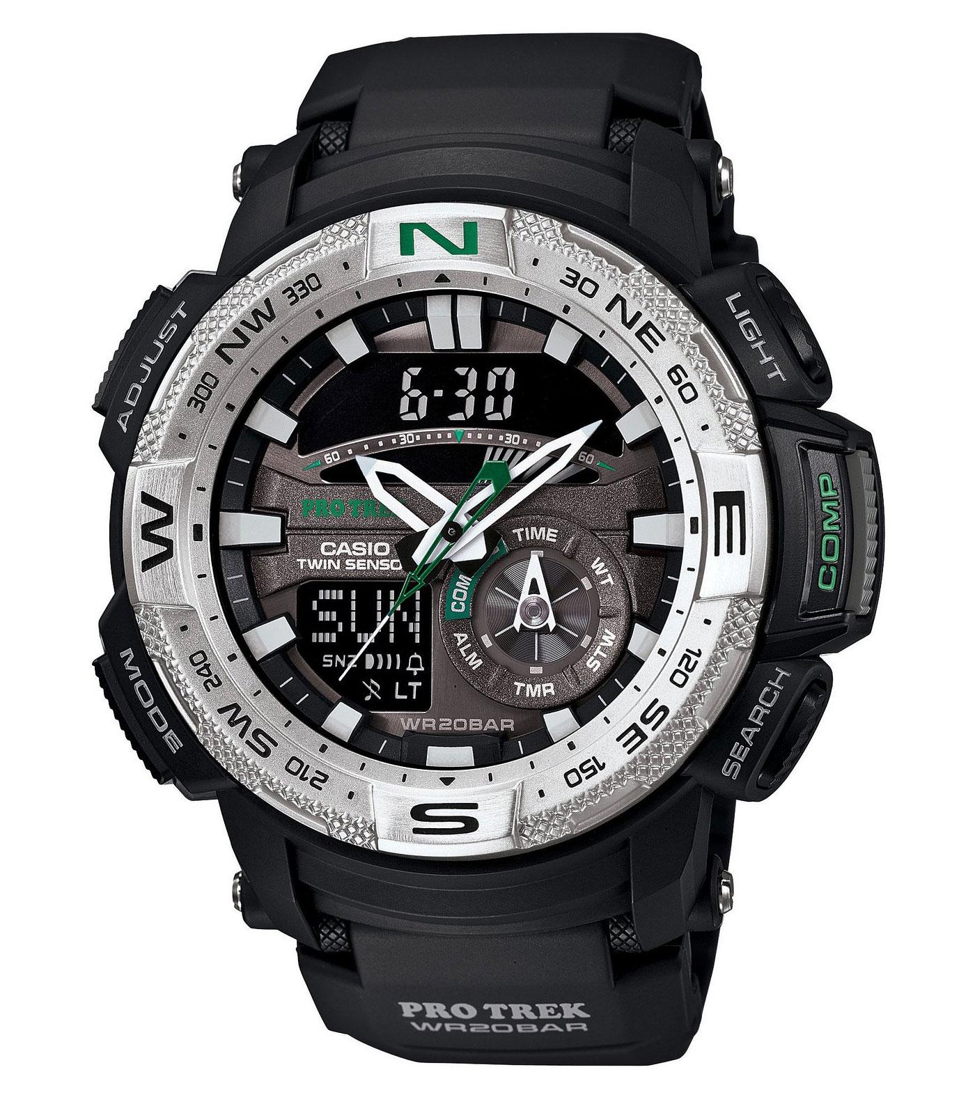 Часы мужские наручные Casio PRO TREK, цвет: черный, серый, серебристый. PRG-280-1EPRG-280-1EСтильные мужские часы Casio PRO TREK выполнены из полимерных материалов и минерального стекла. Изделие дополнено светодиодной подсветкой высокой яркости, корпус часов оформлен символикой бренда. В часах предусмотрен аналоговый и цифровой отсчет времени. Часы оснащены функцией мирового времени, которая позволяет мгновенно выяснять текущее время. Часы могут быть настроены на подачу тонального или светового сигнала при наступлении выставленного времени. Функция таймера позволит обеспечить обратный отсчет времени, начиная с выставленного и подачу тонального или светового сигнала, когда отсчет доходит до нуля. Функция секундомера позволит замерять прошедшее время в пределах тысячи часов с точностью 1/100 секунды, предусмотрен будильник, термометр, цифровой компас. Степень влагозащиты 20 atm. Изделие дополнено ремешком из полимерного материала, который обладает антибактериальными и запахоустойчивыми свойствами. Ремешок застегивается на пряжку, позволяющую максимально комфортно и...