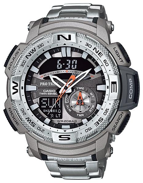 Часы наручные мужские Casio PRO TREK, цвет: серый, серебристый. PRG-280D-7EPRG-280D-7EСтильные мужские часы Casio PRO TREK выполнены из нержавеющей стали и минерального стекла. Изделие дополнено подсветкой высокой яркости, корпус часов оформлен символикой бренда. В часах предусмотрен аналоговый и цифровой отсчет времени. Часы оснащены функцией мирового времени, которая позволяет мгновенно выяснять текущее время. Часы могут быть настроены на подачу тонального или светового сигнала при наступлении выставленного времени. Функция таймера позволит обеспечить обратный отсчет времени, начиная с выставленного и подачу тонального или светового сигнала, когда отсчет доходит до нуля. Функция секундомера позволит замерять прошедшее время в пределах тысячи часов, предусмотрен будильник, термометр, цифровой компас. Степень влагозащиты 20 atm. Изделие дополнено стальным браслетом, который застегивается на замок-клипсу. Часы поставляются в фирменной упаковке. Многофункциональные часы Casio PRO TREK подчеркнут мужской характер и отменное чувство стиля у их обладателя.