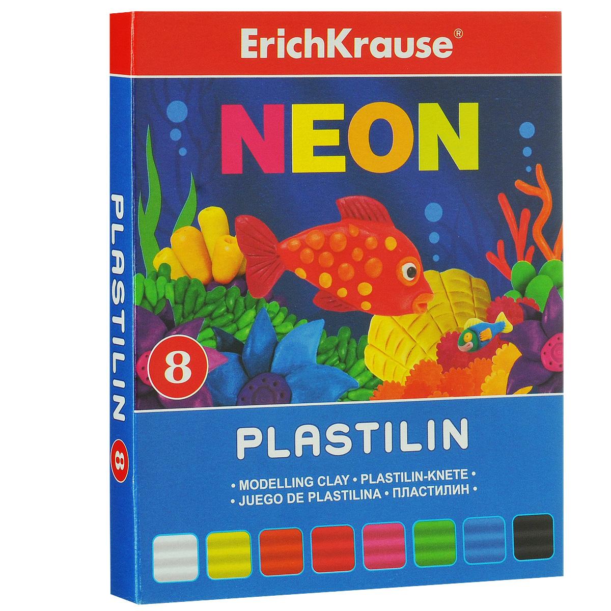 Пластилин Erich Krause Neon, 8 цветов37277Пластилин Neon- это отличная возможность познакомить ребенка с еще одним из видов изобразительного творчества, в котором создаются объемные образы и целые композиции. В набор входит пластилин 8 ярких цветов (белый, желтый, оранжевый, красный, розовый, зеленый, голубой, черный). Цвета пластилина легко смешиваются между собой, и таким образом можно получить новые оттенки. Он имеет яркие, красочные цвета. Техника лепки богата и разнообразна, но при этом доступна даже маленьким детям. Занятие лепкой не только увлекательно, но и полезно для ребенка. Оно способствует развитию творческого и пространственного мышления, восприятия формы, фактуры, цвета и веса, развивает воображение и мелкую моторику.