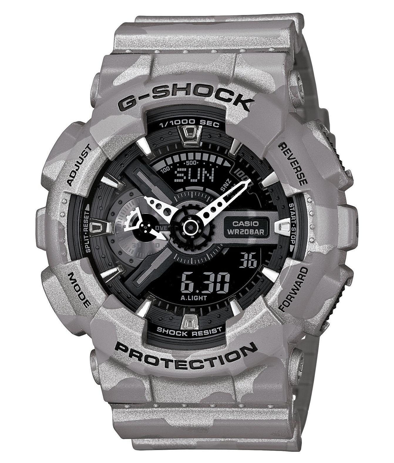 Часы мужские наручные Casio G-SHOCK, цвет: серый, камуфляж. GA-110CM-8AGA-110CM-8AСтильные мужские часы Casio G-SHOCK выполнены из полимерных материалов и минерального стекла. Изделие дополнено светодиодной подсветкой высокой яркости, корпус часов оформлен символикой бренда и оригинальным принтом. В часах предусмотрен аналоговый и цифровой отсчет времени. Часы оснащены функцией мирового времени, которая позволяет мгновенно выяснять текущее время. Часы могут быть настроены на подачу тонального или светового сигнала при наступлении выставленного времени. Функция таймера позволит обеспечить обратный отсчет времени, начиная с выставленного и подачу тонального или светового сигнала, когда отсчет доходит до нуля. Функция секундомера позволит замерять прошедшее время в пределах тысячи часов с точностью 1/100 секунды, предусмотрен будильник. Степень влагозащиты 20 atm. Изделие дополнено ремешком из полимерного материала, который обладает антибактериальными и запахоустойчивыми свойствами. Ремешок застегивается на пряжку, позволяющую максимально комфортно и быстро...