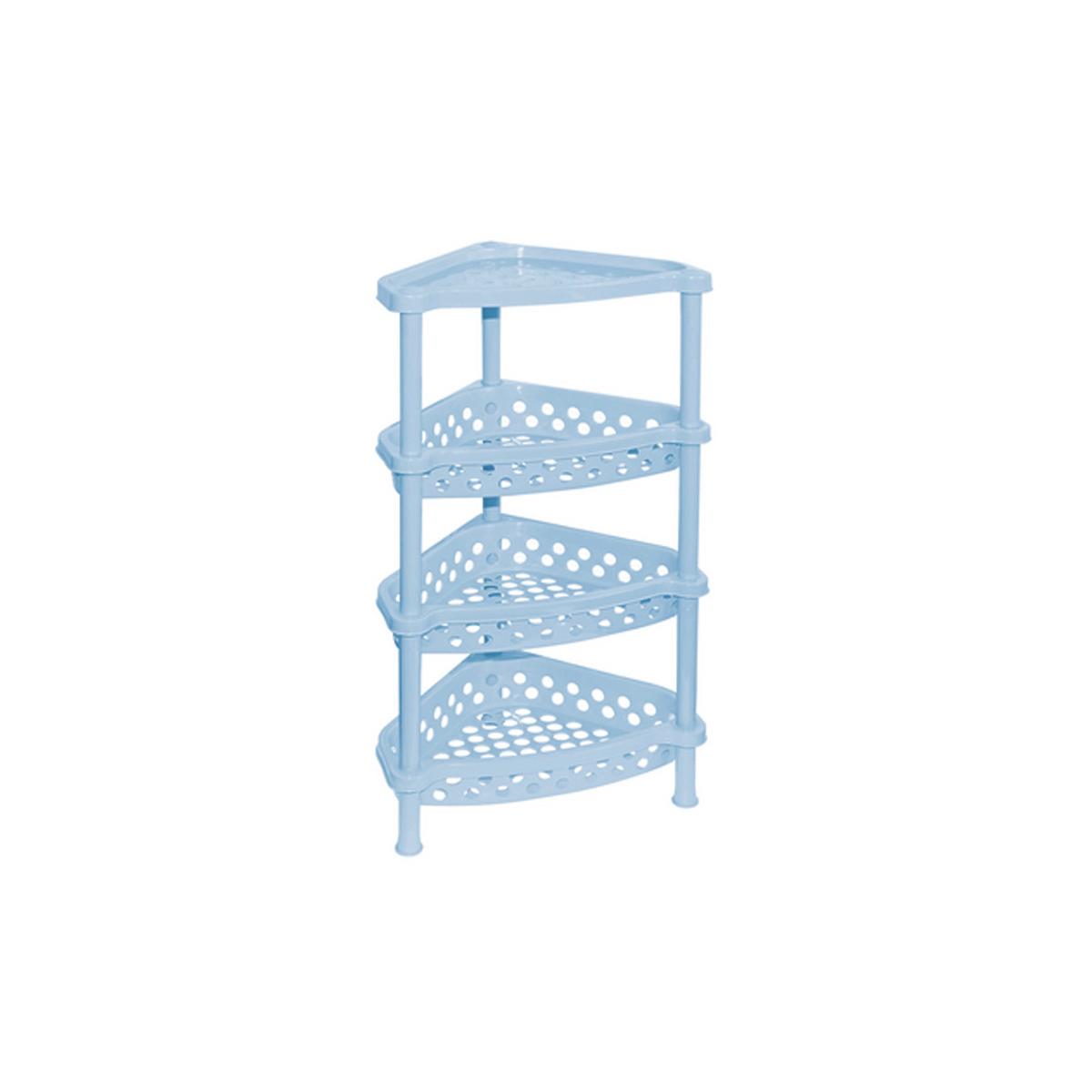 Этажерка угловая Violet, 4-х секционная, цвет: голубой, 37 х 28 х 73 см1604/3Этажерка Violet выполнена из высококачественного прочного пластика и предназначена для хранения различных предметов. Изделие имеет 4 полки треугольной формы с перфорированными стенками. В ванной комнате вы можете использовать этажерку для хранения шампуней, гелей, жидкого мыла, стиральных порошков, полотенец и т.д. Ручной инструмент и детали в вашем гараже всегда будут под рукой. Удобно ставить банки с краской, бутылки с растворителем. В гостиной этажерка позволит удобно хранить под рукой книги, журналы, газеты. С помощью этажерки также легко навести порядок в детской, она позволит удобно и компактно хранить игрушки, письменные принадлежности и учебники. Этажерка - это идеальное решение для любого помещения. Она поможет поддерживать чистоту, компактно организовать пространство и хранить вещи в порядке, а стильный дизайн сделает этажерку ярким украшением интерьера. Размер этажерки (ДхШхВ): 37 см х 28 см х 73 см. ...