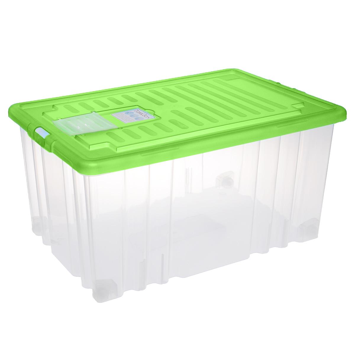 Ящик Darel Box, с крышкой, цвет: зеленый, прозрачный, 56 лЯФ0156Ящик Darel Box, изготовленный из прозрачного пластика, оснащен плотно закрывающейся крышкой и специальным клапаном для антимолиевых и дезодорирующих веществ. Изделие предназначено для хранения различных бытовых вещей. Идеально подойдет для хранения белья, продуктов, игрушек. Будет незаменим на даче, в гараже или кладовой. Выдерживает температурные перепады от -25°С до +95°С. Изделие имеет четыре маленьких колесика, обеспечивающих удобство перемещения ящика. Колеса бокса могут принимать два положения: утопленное - для хранения, и рабочее - для перемещения. Размер ящика: 60 см х 40 см х 31 см.