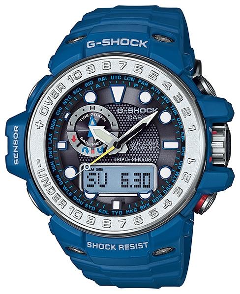 Часы мужские наручные Casio G-SHOCK, цвет: синий, серебристый. GWN-1000-2AGWN-1000-2AСтильные мужские часы Casio G-SHOCK выполнены из полимерных материалов и минерального стекла. Изделие дополнено электролюминесцентной подсветкой высокой яркости, корпус часов оформлен символикой бренда. В часах предусмотрен аналоговый и цифровой отсчет времени. Часы оснащены функцией мирового времени, которая позволяет мгновенно выяснять текущее время. Часы могут быть настроены на подачу тонального или светового сигнала при наступлении выставленного времени. Функция таймера позволит обеспечить обратный отсчет времени, начиная с выставленного и подачу тонального или светового сигнала, когда отсчет доходит до нуля. Функция секундомера позволит замерять прошедшее время в пределах тысячи часов с точностью 1/100 секунды, предусмотрен будильник. Дополнительные функции: барометр, цифровой компас, альтиметр, термометр, будильник. Степень влагозащиты 20 atm. Изделие дополнено ремешком из полимерного материала, который обладает антибактериальными и запахоустойчивыми свойствами. Ремешок...