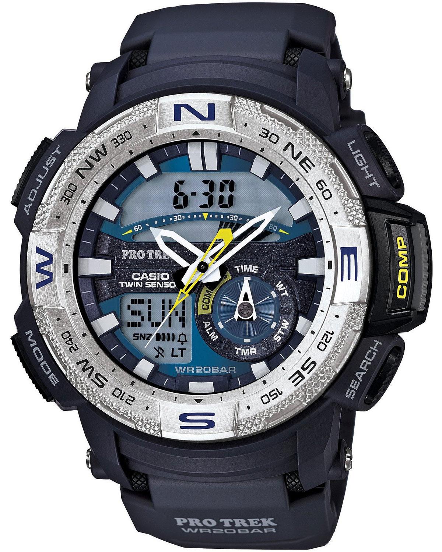Часы мужские наручные Casio PRO TREK, цвет: синий, серебристый. PRG-280-2EPRG-280-2EСтильные мужские часы Casio PRO TREK выполнены из полимерных материалов и минерального стекла. Изделие дополнено светодиодной подсветкой высокой яркости, корпус часов оформлен символикой бренда. В часах предусмотрен аналоговый и цифровой отсчет времени. Часы оснащены функцией мирового времени, которая позволяет мгновенно выяснять текущее время. Часы могут быть настроены на подачу тонального или светового сигнала при наступлении выставленного времени. Функция таймера позволит обеспечить обратный отсчет времени, начиная с выставленного и подачу тонального или светового сигнала, когда отсчет доходит до нуля. Функция секундомера позволит замерять прошедшее время в пределах тысячи часов с точностью 1/100 секунды, предусмотрен будильник, термометр, цифровой компас. Степень влагозащиты 20 atm. Изделие дополнено ремешком из полимерного материала, который обладает антибактериальными и запахоустойчивыми свойствами. Ремешок застегивается на пряжку, позволяющую максимально комфортно и...