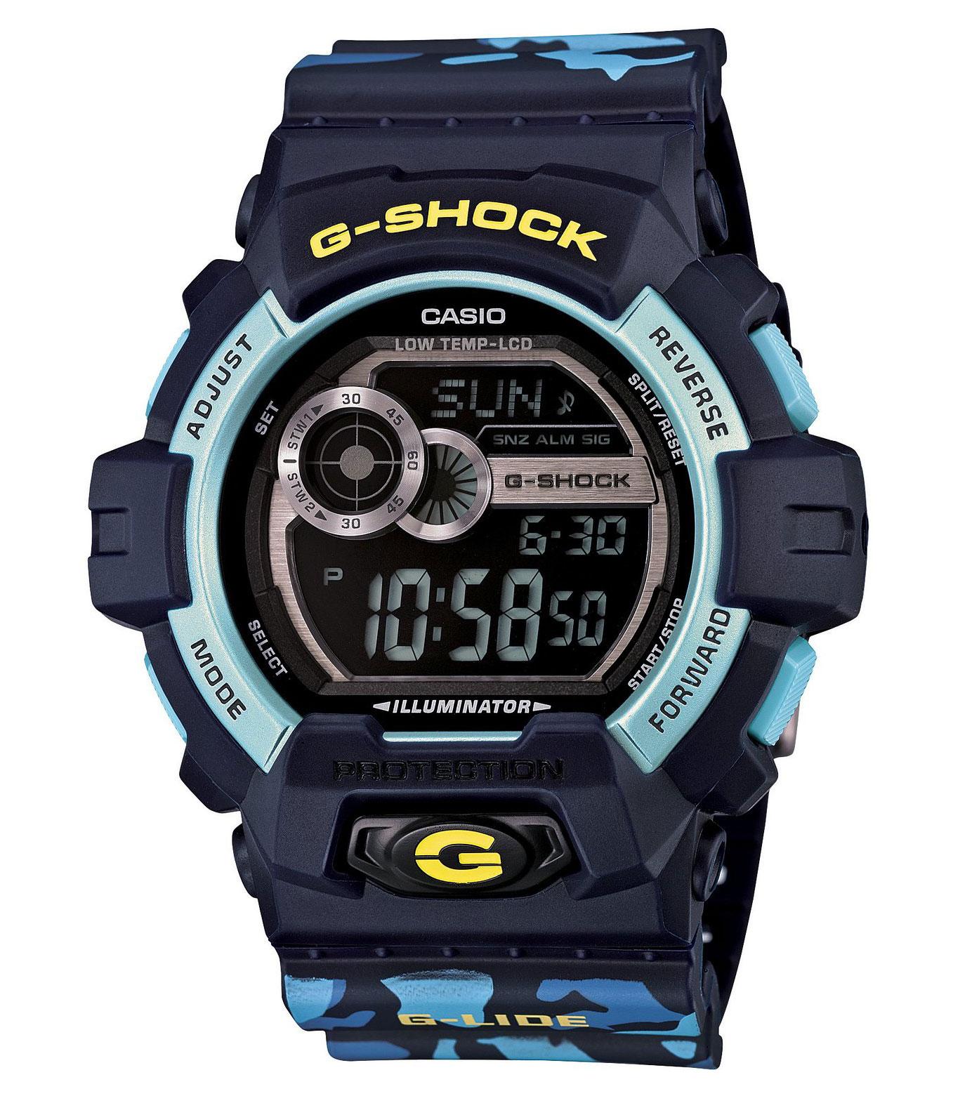 Часы мужские наручные Casio G-SHOCK, цвет: синий, голубой. GLS-8900CM-2EGLS-8900CM-2EСтильные мужские часы Casio G-SHOCK выполнены из полимерных материалов и минерального стекла. Изделие дополнено светодиодной подсветкой высокой яркости, корпус часов оформлен символикой бренда и оригинальным принтом камуфляж. В часах предусмотрен цифровой отсчет времени. Часы оснащены функцией мирового времени, которая позволяет мгновенно выяснять текущее время. Часы могут быть настроены на подачу тонального или светового сигнала при наступлении выставленного времени. Функция таймера позволит обеспечить обратный отсчет времени, начиная с выставленного и подачу тонального или светового сигнала, когда отсчет доходит до нуля. Функция секундомера позволит замерять прошедшее время в пределах тысячи часов с точностью 1/100 секунды, предусмотрен будильник. Степень влагозащиты 20 atm. Изделие дополнено ремешком из полимерного материала, который обладает антибактериальными и запахоустойчивыми свойствами. Ремешок застегивается на пряжку, позволяющую максимально комфортно и быстро...