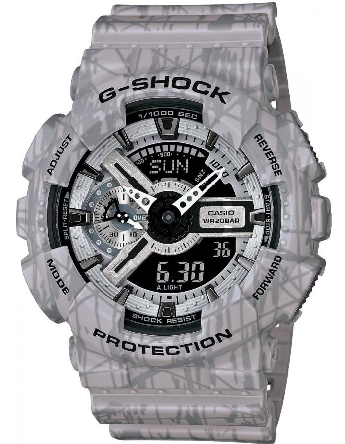 Часы мужские наручные Casio G-SHOCK, цвет: серый. GA-110SL-8AGA-110SL-8AСтильные мужские часы Casio G-SHOCK выполнены из полимерных материалов и минерального стекла. Изделие дополнено светодиодной подсветкой высокой яркости, корпус часов оформлен символикой бренда и оригинальным принтом. В часах предусмотрен аналоговый и цифровой отсчет времени. Часы оснащены функцией мирового времени, которая позволяет мгновенно выяснять текущее время. Часы могут быть настроены на подачу тонального или светового сигнала при наступлении выставленного времени. Функция таймера позволит обеспечить обратный отсчет времени, начиная с выставленного и подачу тонального или светового сигнала, когда отсчет доходит до нуля. Функция секундомера позволит замерять прошедшее время в пределах тысячи часов с точностью 1/100 секунды, предусмотрен будильник. Степень влагозащиты 20 atm. Изделие дополнено ремешком из полимерного материала, который обладает антибактериальными и запахоустойчивыми свойствами. Ремешок застегивается на пряжку, позволяющую максимально комфортно и быстро...