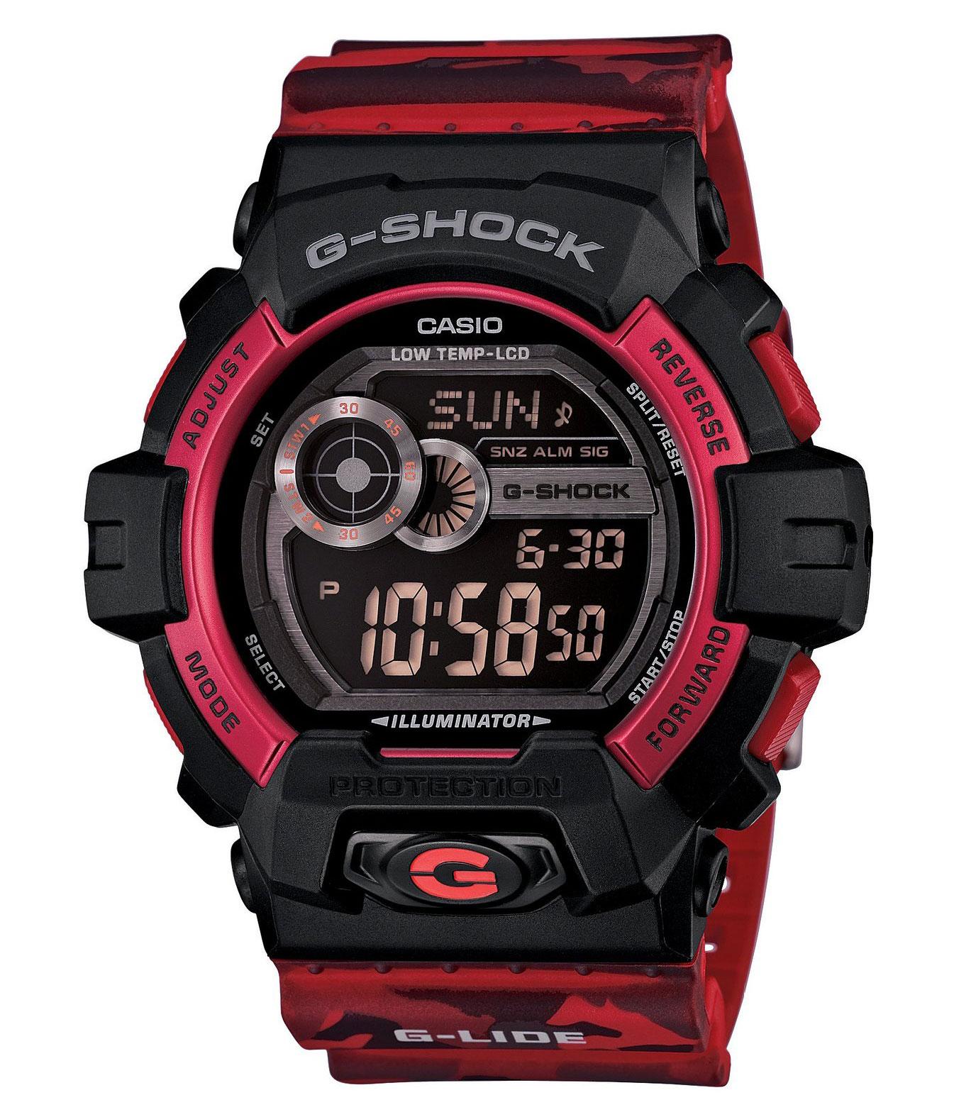 Часы мужские наручные Casio G-SHOCK, цвет: красный, черный. GLS-8900CM-4EGLS-8900CM-4EСтильные мужские часы Casio G-SHOCK выполнены из полимерных материалов и минерального стекла. Изделие дополнено светодиодной подсветкой высокой яркости, корпус часов оформлен символикой бренда и оригинальным принтом камуфляж. В часах предусмотрен цифровой отсчет времени. Часы оснащены функцией мирового времени, которая позволяет мгновенно выяснять текущее время. Часы могут быть настроены на подачу тонального или светового сигнала при наступлении выставленного времени. Функция таймера позволит обеспечить обратный отсчет времени, начиная с выставленного и подачу тонального или светового сигнала, когда отсчет доходит до нуля. Функция секундомера позволит замерять прошедшее время в пределах тысячи часов с точностью 1/100 секунды, предусмотрен будильник. Степень влагозащиты 20 atm. Изделие дополнено ремешком из полимерного материала, который обладает антибактериальными и запахоустойчивыми свойствами. Ремешок застегивается на пряжку, позволяющую максимально комфортно и быстро...