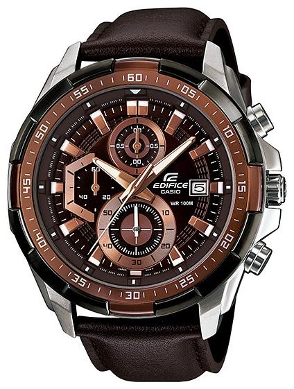 Часы мужские наручные CASIO EDIFICE, цвет: коричневый, стальной. EFR-539L-5AEFR-539L-5AСтильные мужские часы CASIO EDIFICE выполнены из нержавеющей стали, натуральной кожи с тиснением под рептилию и минерального стекла. Циферблат изделия дополнен светящимся составом на стрелках и символикой бренда. Часы оснащены полированным ударостойким корпусом, устойчивым к царапинам минеральным стеклом, секундомером, тремя дополнительными циферблатами, индикатором даты, а также степенью влагозащиты 10 atm. Изделие дополнено ремнем из натуральной кожи, позволяющим максимально комфортно и быстро снимать и одевать часы при помощи пряжки. Часы поставляются в фирменной упаковке. Часы CASIO EDIFICE подчеркнут мужской характер и отменное чувство стиля у их обладателя.