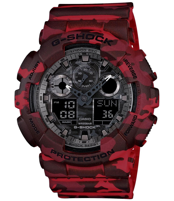 """Часы наручные мужские Casio """"G-SHOCK"""", цвет: красный, камуфляж. GA-100CM-4A"""