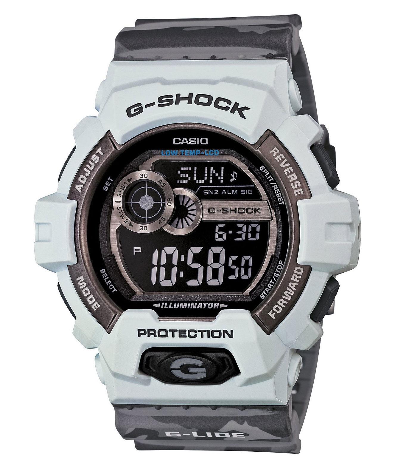 Часы мужские наручные Casio G-SHOCK, цвет: светлосерый, серый. GLS-8900CM-8EGLS-8900CM-8EСтильные мужские часы Casio G-SHOCK выполнены из полимерных материалов и минерального стекла. Изделие дополнено светодиодной подсветкой высокой яркости, корпус часов оформлен символикой бренда и оригинальным принтом камуфляж. В часах предусмотрен цифровой отсчет времени. Часы оснащены функцией мирового времени, которая позволяет мгновенно выяснять текущее время. Часы могут быть настроены на подачу тонального или светового сигнала при наступлении выставленного времени. Функция таймера позволит обеспечить обратный отсчет времени, начиная с выставленного и подачу тонального или светового сигнала, когда отсчет доходит до нуля. Функция секундомера позволит замерять прошедшее время в пределах тысячи часов с точностью 1/100 секунды, предусмотрен будильник. Степень влагозащиты 20 atm. Изделие дополнено ремешком из полимерного материала, который обладает антибактериальными и запахоустойчивыми свойствами. Ремешок застегивается на пряжку, позволяющую максимально комфортно и быстро...