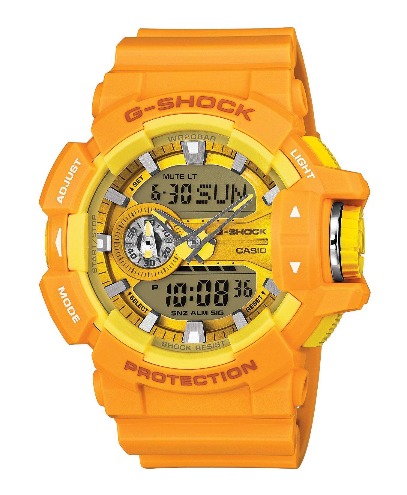 Часы мужские наручные Casio G-SHOCK, цвет: оранжевый, желтый. GA-400A-9AGA-400A-9AСтильные мужские часы Casio G-SHOCK выполнены из полимерных материалов и минерального стекла. Изделие дополнено светодиодной подсветкой высокой яркости, корпус часов оформлен символикой бренда. В часах предусмотрен аналоговый и цифровой отсчет времени. Часы оснащены функцией мирового времени, которая позволяет мгновенно выяснять текущее время. Часы могут быть настроены на подачу тонального или светового сигнала при наступлении выставленного времени. Функция таймера позволит обеспечить обратный отсчет времени, начиная с выставленного и подачу тонального или светового сигнала, когда отсчет доходит до нуля. Функция секундомера позволит замерять прошедшее время в пределах тысячи часов с точностью 1/100 секунды. Степень влагозащиты 20 atm. Изделие дополнено ремешком из полимерного материала, который обладает антибактериальными и запахоустойчивыми свойствами. Ремешок застегивается на пряжку, позволяющую максимально комфортно и быстро снимать и одевать часы. Часы поставляются в...
