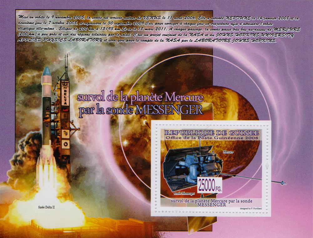 Почтовый блок Обзор Меркурия зондом Мессенджер. Республика Гвинея, 2008 год691503Почтовый блок Обзор Меркурия зондом Мессенджер. Республика Гвинея, 2008 год. Размер блока: 11 х 14 см. Размер марок: 4 х 5 см. Сохранность хорошая.