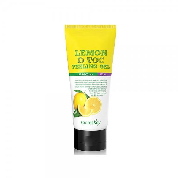 Secret Key Пилинг-скатка для лица Lemon D-Toc peeling Gel 120 мл92995Пилинг-скатка для лица с экстрактом лимона нежно очищает кожу лица от ороговевших частиц и загрязнений, увлажняя ее в процессе очищения. Проникая в поры, растворяя загрязнения внутри пор. Освежает цвет лица, осветляет пигментацию. Содержит экстракт алоэ вера, гаммамелиса, цветков ромашки.