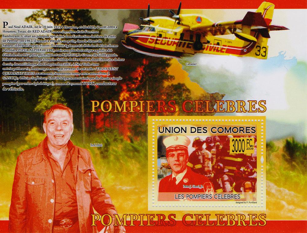 Почтовый блок Знаменитые пожарные. Союз Коморских островов, 2009 год691503Почтовый блок Знаменитые пожарные. Союз Коморских островов, 2009 год. Размер блока: 10.5 х 14 см. Размер марок: 4 х 5 см. Сохранность хорошая.