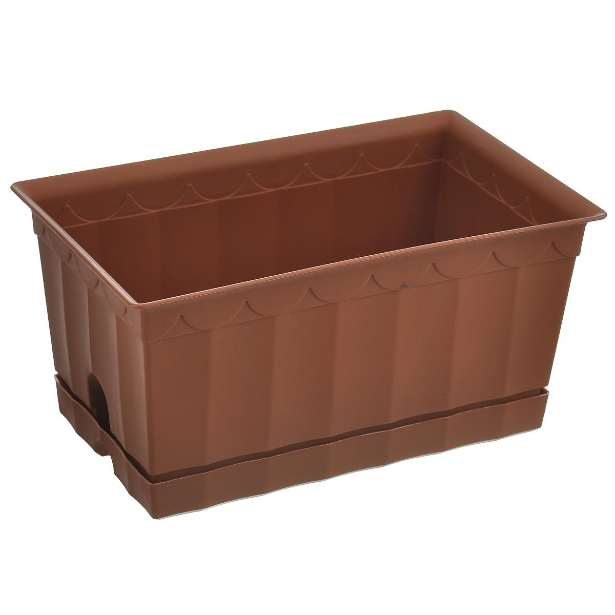 Ящик для цветов с поддоном Полимербыт, цвет: коричневый, 20 х 12 х 9,5 смС119Ящик для цветов Полимербыт, выполненный из пластика коричневого цвета, - прекрасный способ подчеркнуть красоту и уникальность любого растения и дополнить интерьер помещения. Такой ящик также прекрасно подойдет для рассады. К ящику прилагается поддон.