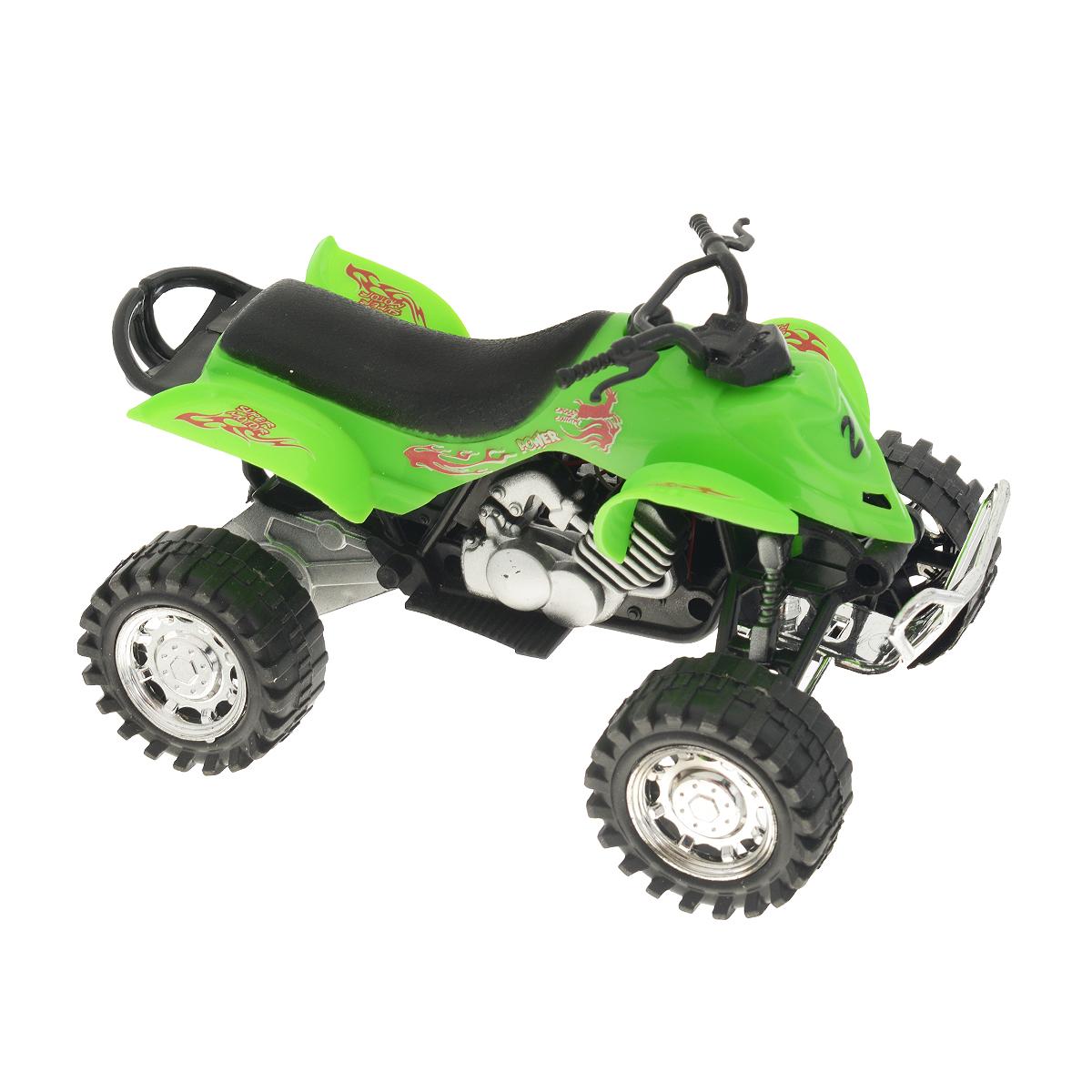 Big motors Квадроцикл инерционный цвет зеленый6297-17_зеленыйИнерционная игрушка Dream Makers Квадроцикл, изготовленная из проного пластика, привлечет внимание вашего ребенка и не позволит ему скучать. Квадроцикл снабжен кнопкой, при нажатии на которую звучат различные звуки. Игрушка оснащена инерционным механизмом: стоит откатить квадроцикл назад, затем отпустить и он молниеносно поедет вперед. Ребенок с удовольствием будет играть с этой игрушкой, придумывая разные истории. Порадуйте его таким замечательным подарком! Рекомендуется докупить 3 батарейки типа LR44 (товар комплектуется демонстрационными).