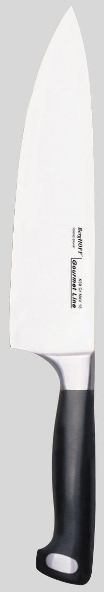 Нож поварской Gourmet 20 см, цвет: металлик-черный1399522Нож поварской Gourmet 20 см изготовлен из высококачественной хром-молибден-ванадиевой стали (Х50CrMovV15). Наиболее часто используемый на кухне нож, подходит для многих целей. Таким ножом легко нарезать продукты качающимися движениями на разделочной доске, а широкое и толстое лезвие позволяет использовать такой нож в качестве секача. Кованная шейка ножа для дополнительного веса, баланса и безопасности рук.Бесшовная конструкция. Ручная заточка. Эргономичная форма с выемками для безопасного и удобного удерживания.Рекомендуется мыть вручную .